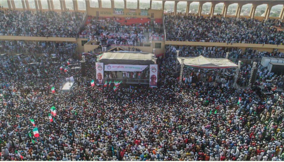 Aerial View of Atiku's frightening Crowd in Kastina (pictures)
