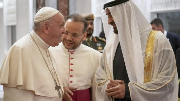 Pope Francis in Abu Dhabi, meets UAE Crown Prince