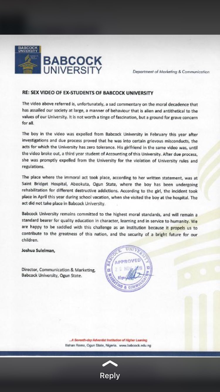 Babcock University press release
