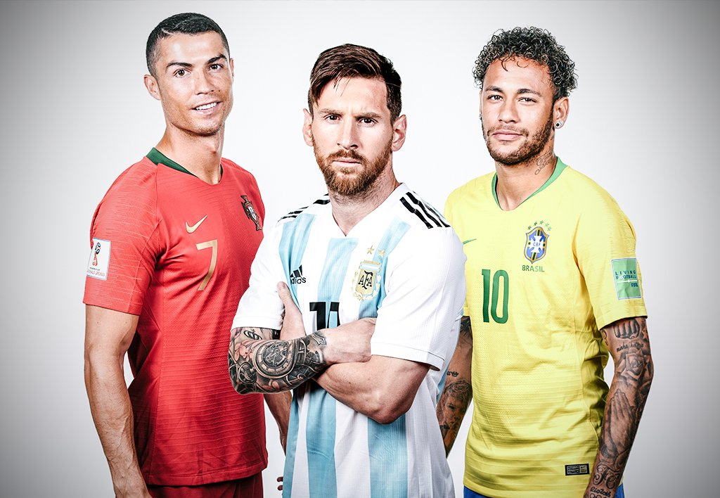 Cristiano Ronaldo, Messi and Neymar