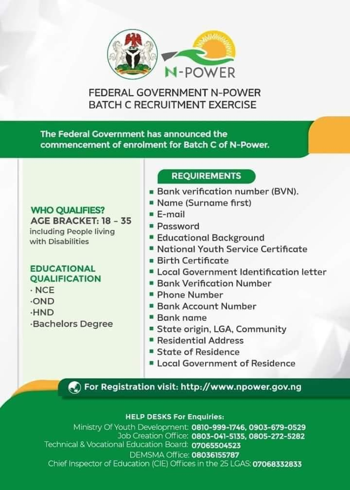 Npower job requirements