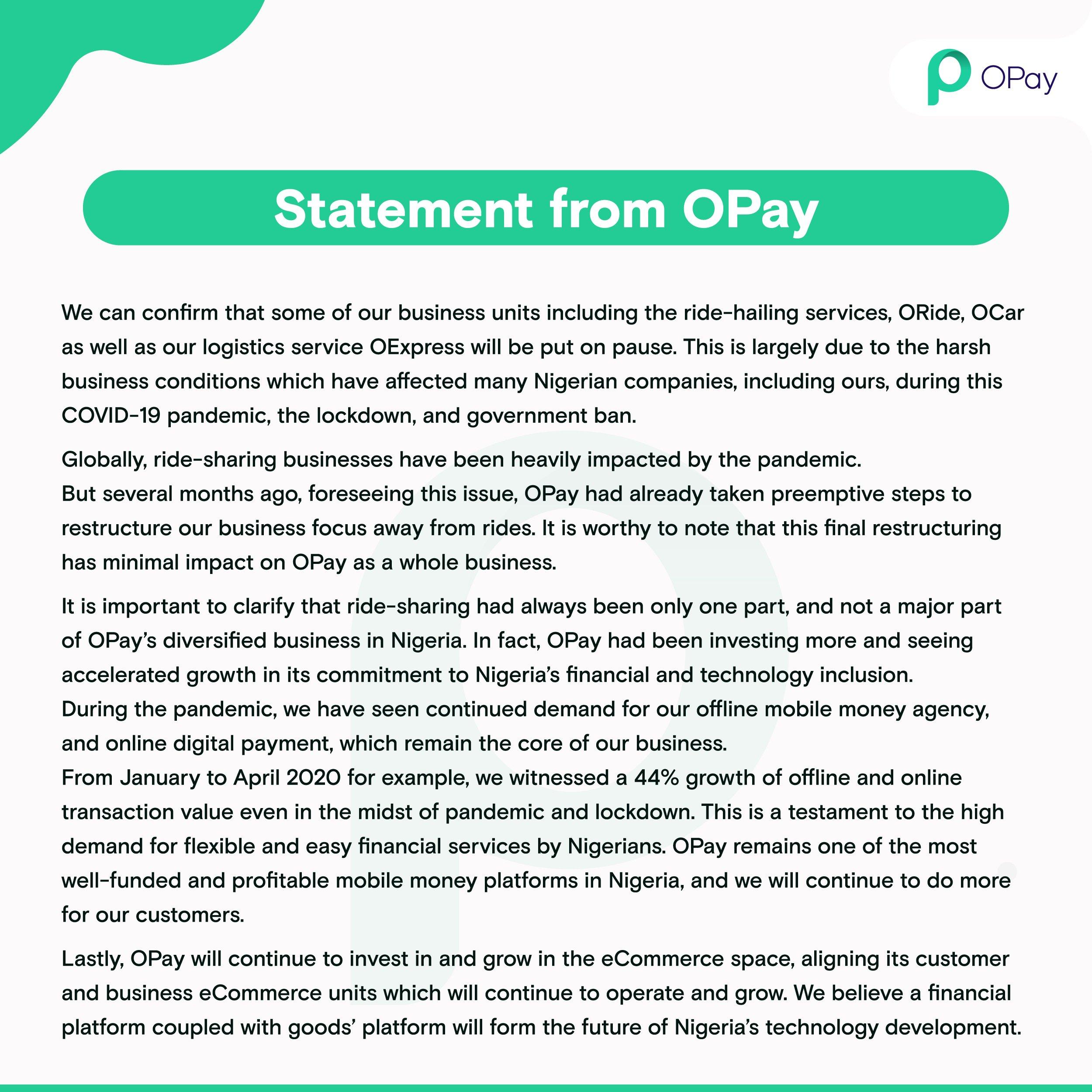 Opay Shutdown memo