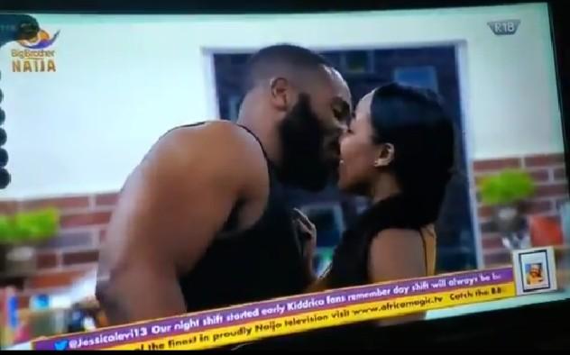 #BBNaija2020 : Kiddwaya and Erica kiss passionately (video)