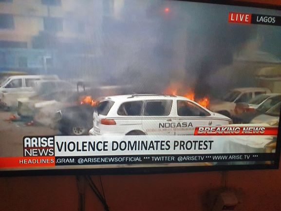 FRSC, VIO, LASTMA offices at Ojodu-Berger, Lagos on fire, vehicles destroyed (video)