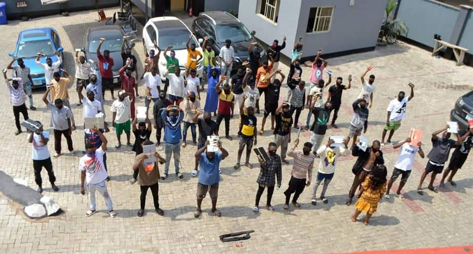 EFCC Arrests 57 Yahoo Boys In Ogun, Recovers Two Pump Action Rifles (Photos)