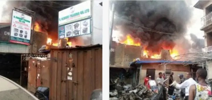 Ladipo Market spare parts gutted by fire (video)
