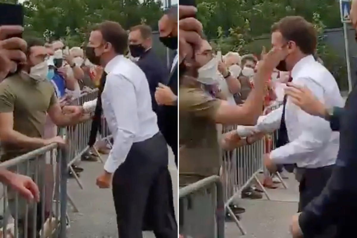 France President Emmanuel Macron slapped in the face (video)