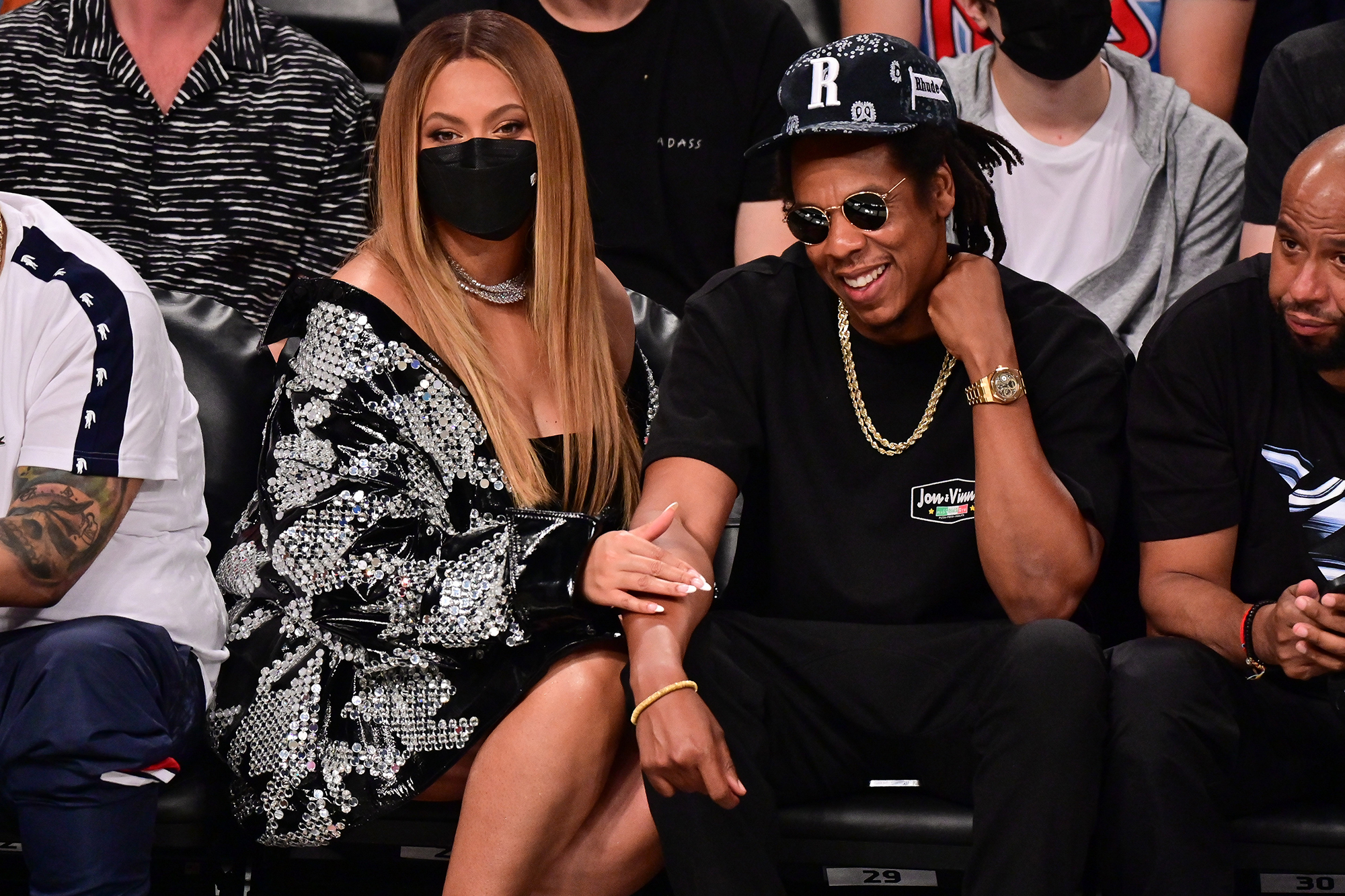 Beyoncé and JAY-Z Get Cozy Courtside for Date Night at Brooklyn Nets Game