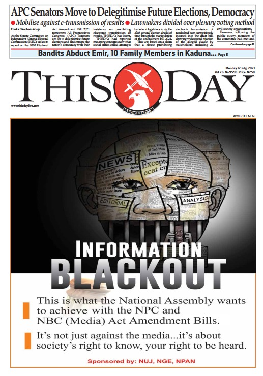 National Newspapers in Nigeria stage subtle protest against Government's media Guage