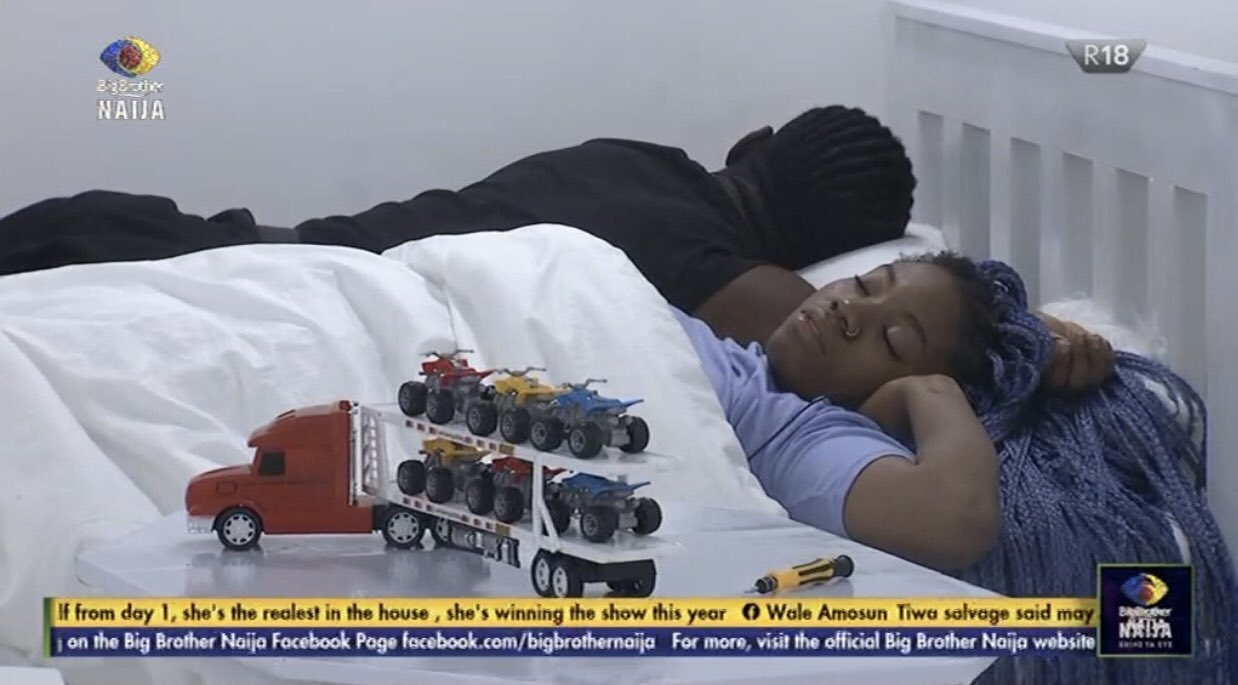 #BBNaija2021 : Biggie stuck with Pere and Angel in the white room