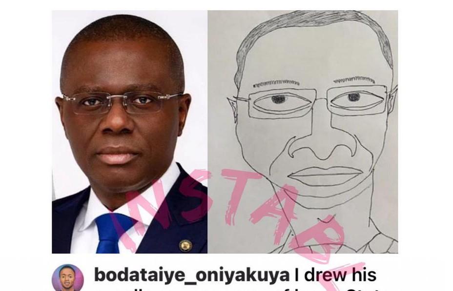 Artist from UAR draws Sanwo-Olu